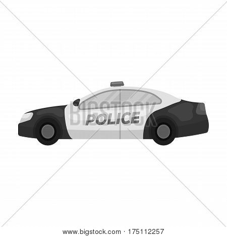 Police car icon in monochrome design isolated on white background. Police symbol stock vector illustration.