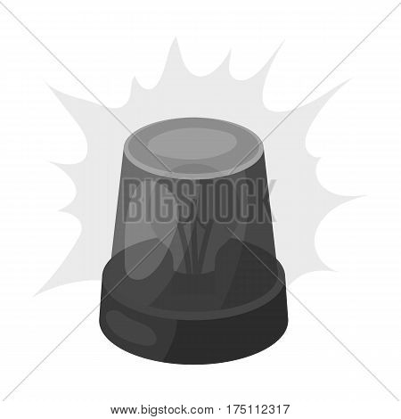 Emergency rotating beacon light icon in monochrome design isolated on white background. Police symbol stock vector illustration.