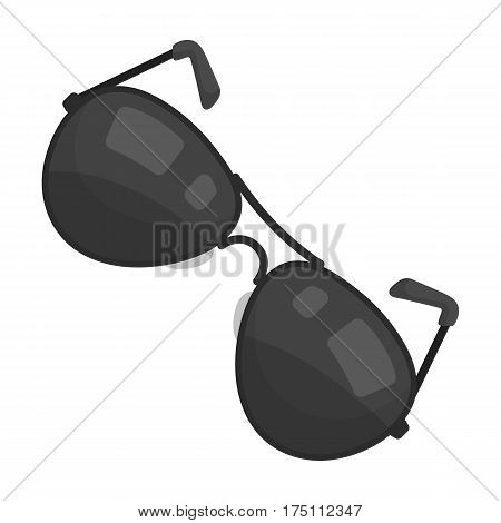 Aviator sunglasses icon in monochrome design isolated on white background. Police symbol stock vector illustration.
