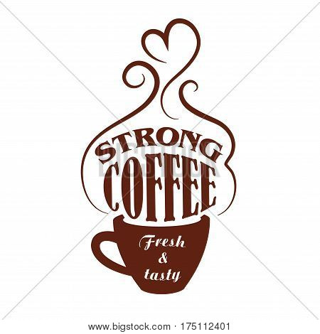 Coffee cup vector icon of strong espresso or cappuccino and americano, moka aroma stream. Cafeteria or coffeehouse sign of ristretto or frappe mug, latte macchiato or hot chocolate drink