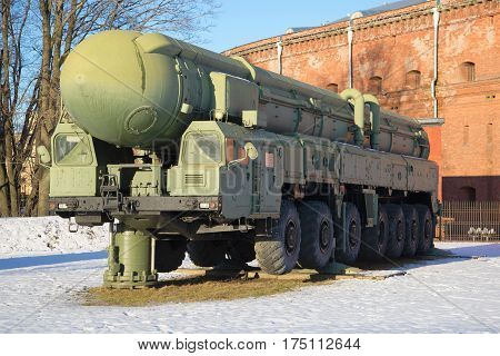 SAINT-PETERSBURG, RUSSIA - JANUARY 20, 2017: The launcher strategic missile systems RT-2PM
