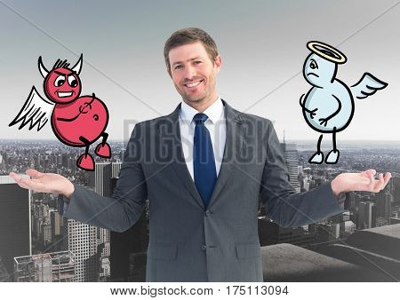 Conceptual image of smiling businessman between good and bad conscience against cityscape background
