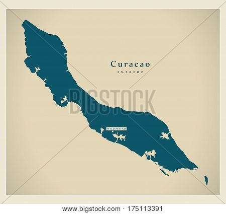 Modern Map - Curacao Cw Illustration Silhouette
