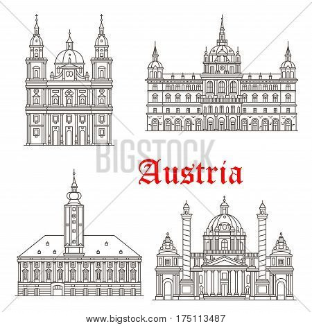 Austrian historic architecture buildings and landmarks. Vector icons and facades of Salzburg and St Polten cathedral, Graz town hall, Karlskirche or St Charles Church in Vienna