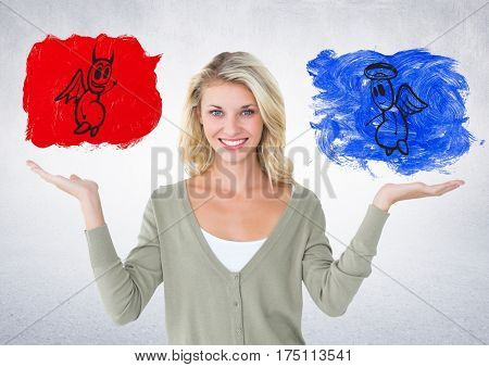 Conceptual image of smiling woman between good and bad conscience against white background