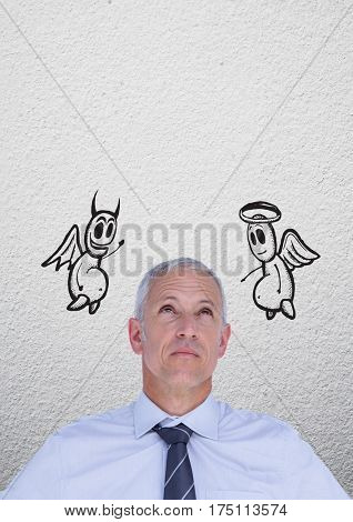 Conceptual image of thoughtful businessman between good and bad conscience