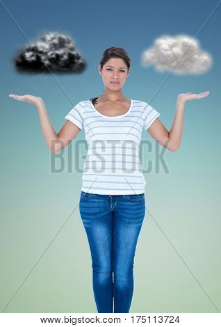 Conceptual image of confused woman between good and bad conscience against grey background