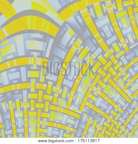 Abstract geometric netting background. Modern curved stripes pattern in yellow, purple and gray shades diagonally and irregular.