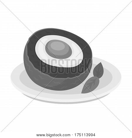 Scotch eggs icon in monochrome design isolated on white background. Scotland country symbol stock vector illustration.