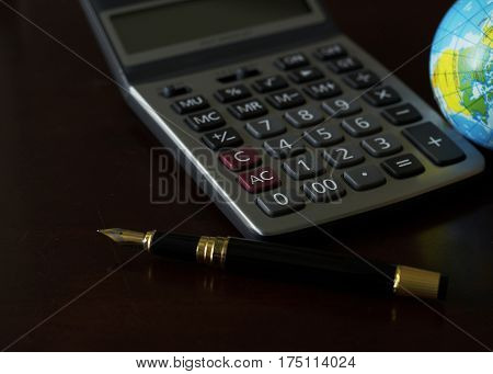 loan business concept fountain pen home success work place finance dollar thai baht mortgage coins stack saving plan money bank objects growth calculator planning consulting deposit credit background office financial capital