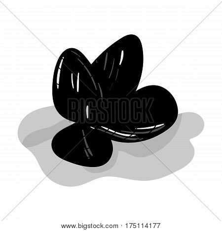 Mussels icon in monochrome design isolated on white background. Sea animals symbol stock vector illustration.