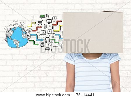 Digital composite image of woman covered her face with cardboard box and various application against brick wall