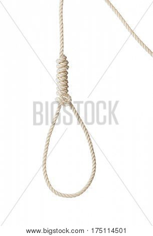 Rope with hangman noose isolated on white background