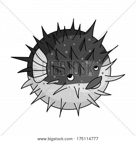 Porcupine fish icon in monochrome design isolated on white background. Sea animals symbol stock vector illustration.