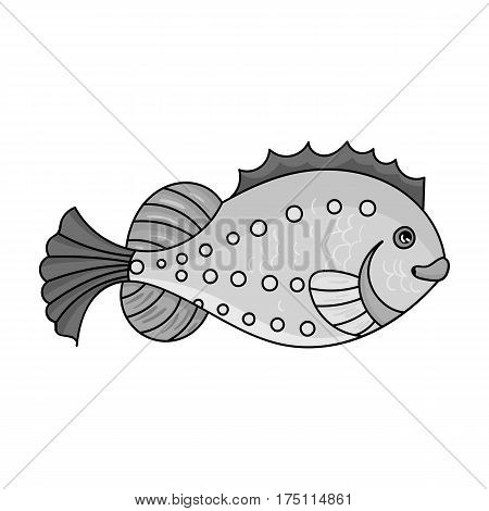 Sea fish icon in monochrome design isolated on white background. Sea animals symbol stock vector illustration.