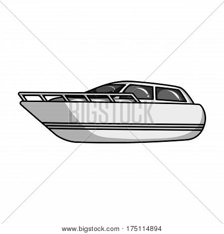 White motor boat to transport a few people.One of the types of water transport.Ship and water transport single icon in monochrome style vector symbol stock web illustration.