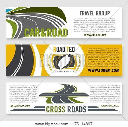 Road travel banners for transport service company group. Vector set of highway or motorway lanes and drives for transit service or expressway construction and building industry