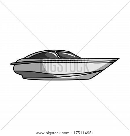 A small white boat with a motor.Boat for speed and competition.Ship and water transport single icon in monochrome style vector symbol stock web illustration.