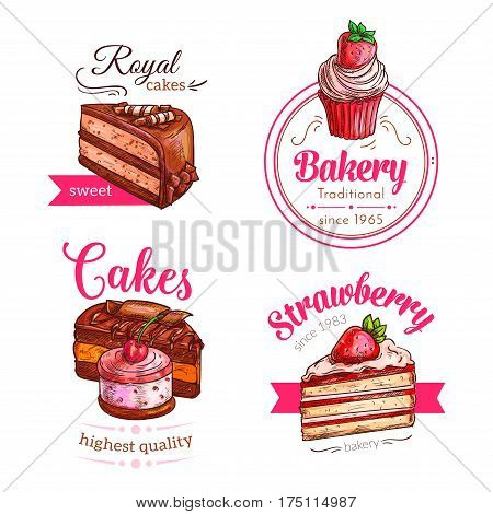 Patisserie dessert cakes vector icons. Cupcakes and bakery torte of strawberry cheesecake pie or chocolate brownie and fruit biscuit tart. Pastry raisin muffin and pudding or donut with muffin