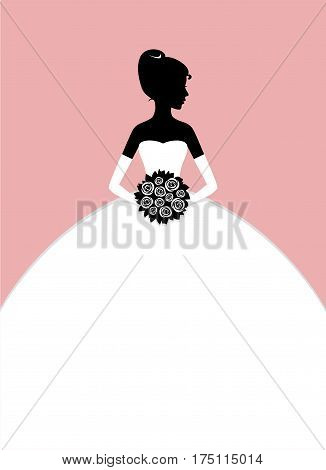 Bride's silhouette. Vector illustration of young beautiful bride