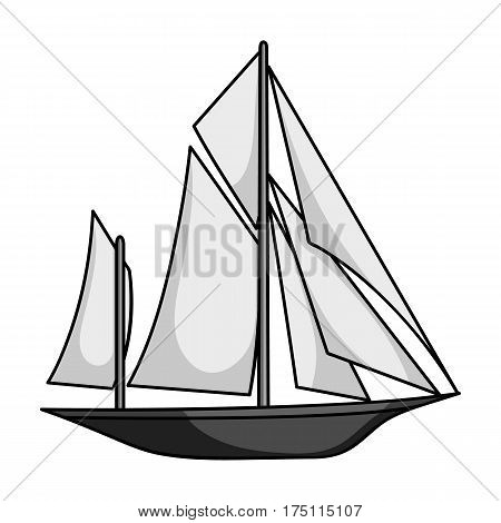 Vintage boat explorers.Sailboat on which ancient people traveled around the Earth.Ship and water transport single icon in monochrome style vector symbol stock web illustration.