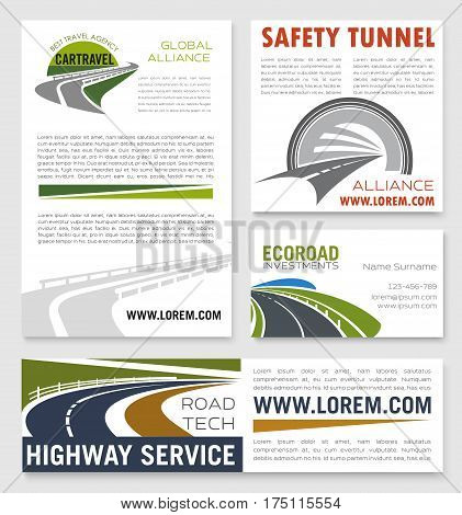 Highway service company banners for tunnels and motorways safety construction. Vector business card set of expressway drives, transport routes for transportation, travel and road building company