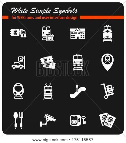 railway station white simple symbols for web icons and user interface design