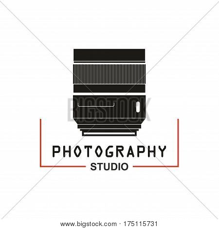 Camera lens vector icon for photo studio or photography school. Symbol or emblem of retro or digital photograph lens aperture tube