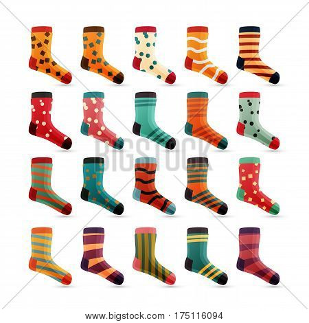 Child Socks Icons Vector. Colorful Cute Icons. Sock Set Isolated On White Background. Cotton Wear