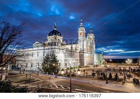 Madrid Spain - November 13 2016: La Almudena is the Catholic cathedral in Madrid. Exterior view at sunset
