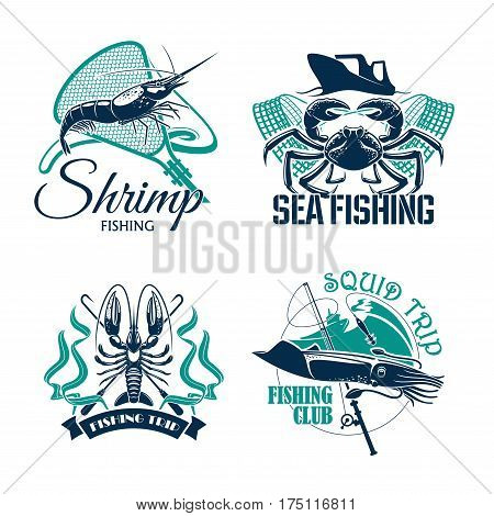 Sea fishing trip vector icons of crab, shrimp or prawn and squid. Emblems of fisher club with seafood catch and fishery tackle rods and fish net, baits or lure hooks and fisherman ships or boats