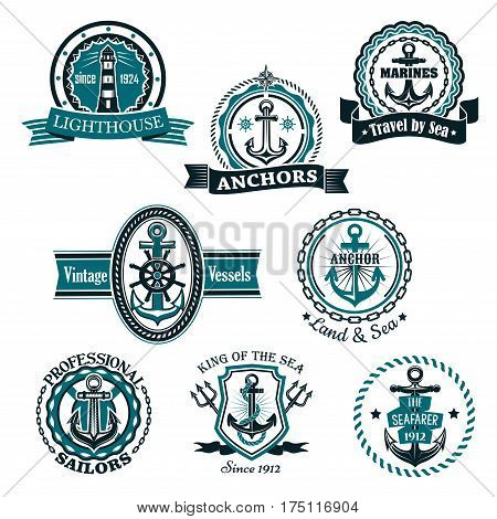Nautical heraldic or marine vector icons. Emblems and heraldry badges of lighthouse or beacon light, shop anchor and helm, sailor compass and trident with shields, ribbons and stars