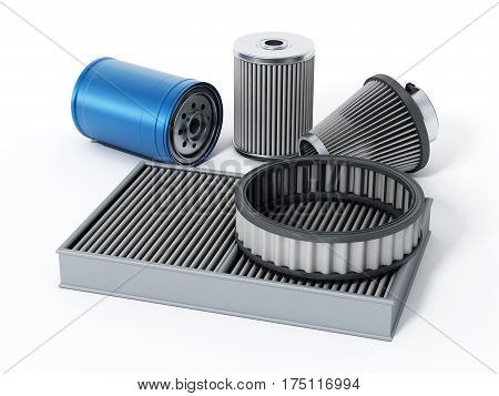 Car spare oil and air filters. 3D illustration.