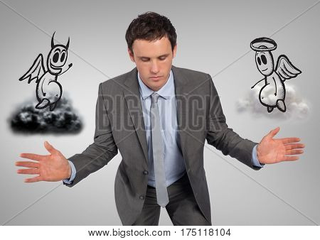 Conceptual image of businessman between good and bad conscience against grey background
