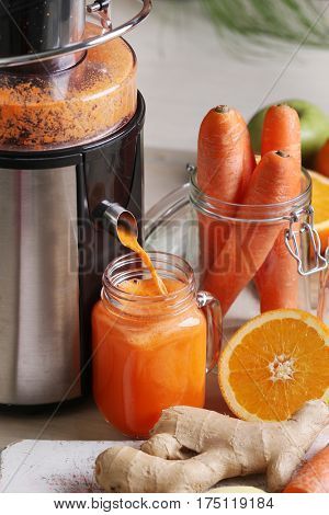 Drink, kitchen. Healthy carrot juice