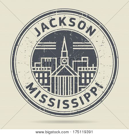 Grunge rubber stamp or label with text Jackson Mississippi written inside vector illustration