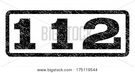 112 watermark stamp. Text caption inside rounded rectangle with grunge design style. Rubber seal stamp with unclean texture. Vector black ink imprint on a white background.