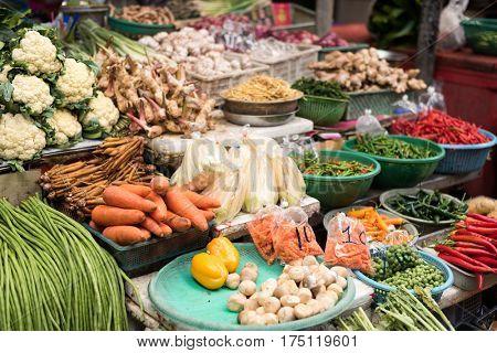 bangkok local traditional market at Thailand