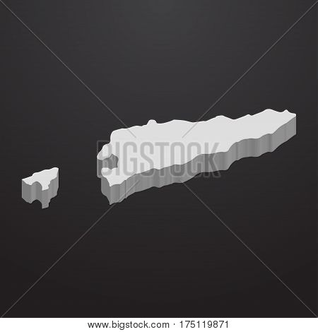 East Timor map in gray on a black background 3d