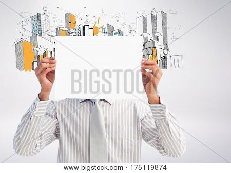 Digital composition of businessman holding blank placard in front of his face against hand drawn office buildings in background