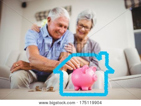 Digital composition of senior couple insert coins in piggy bank against house outline