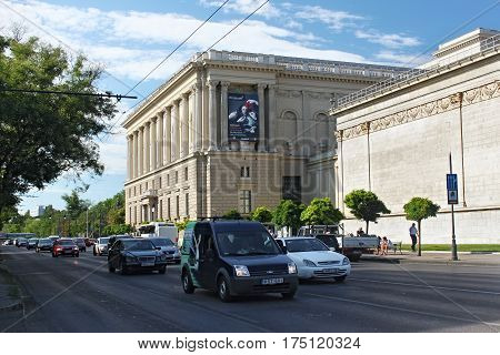 BUDAPEST, HUNGARY - AUGUST 08, 2012: Side view of The Museum of Fine Arts in Budapest. The building was built in an eclectic-neoclassical style between 1900 and 1906.