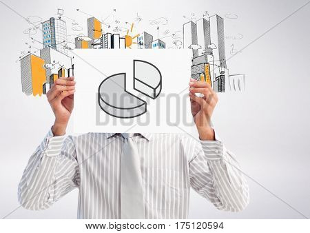 Digital composition of businessman holding placard with graph drawing against hand drawn office buidling in background
