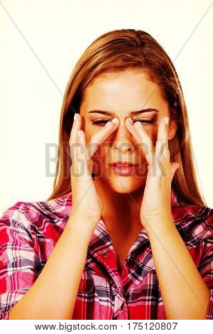 Young woman with sinus ache