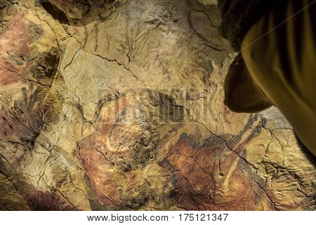 Madrid Spain - february 24 2017: Visitors contemplates the Altamira replica cave at National Archeological Museum Madrid Spain