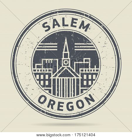 Grunge rubber stamp or label with text Salem Oregon written inside vector illustration