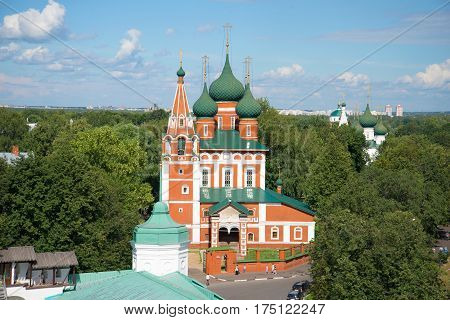 YAROSLAVL, RUSSIA - JULY 10, 2016: The old church of St. Michael the Archangel closeup of a sunny day in July. Golden ring of Russia
