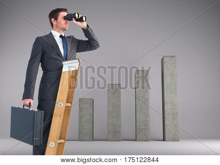 Digital composition of businessman looking through binoculars while standing on ladder against bar graph in backgrou