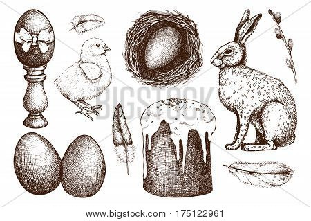 Vector collection of cute retro illustrations for easter design. Happy Easter Day design elements. Vintage hand drawn sketch set