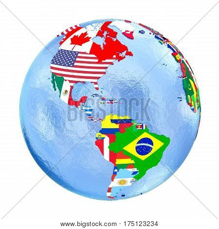 Americas On Political Globe With Flags Isolated On White